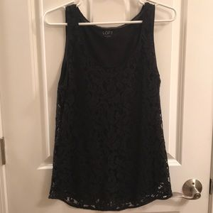 LOFT Black lace tank with black lining